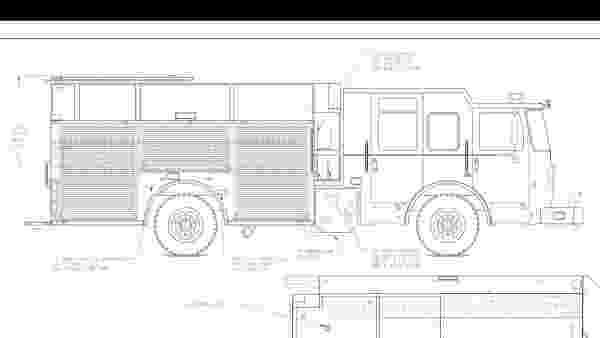 fire engine sketch autocar 750 gpm pumper pen ink illustration fire engine sketch