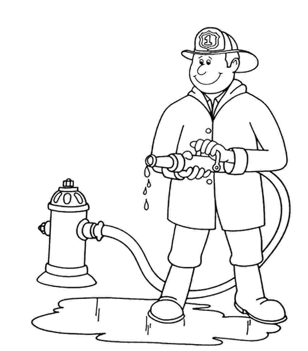 fire fighting coloring pages coloring page firefighter at work printable images professions fire fighting coloring pages