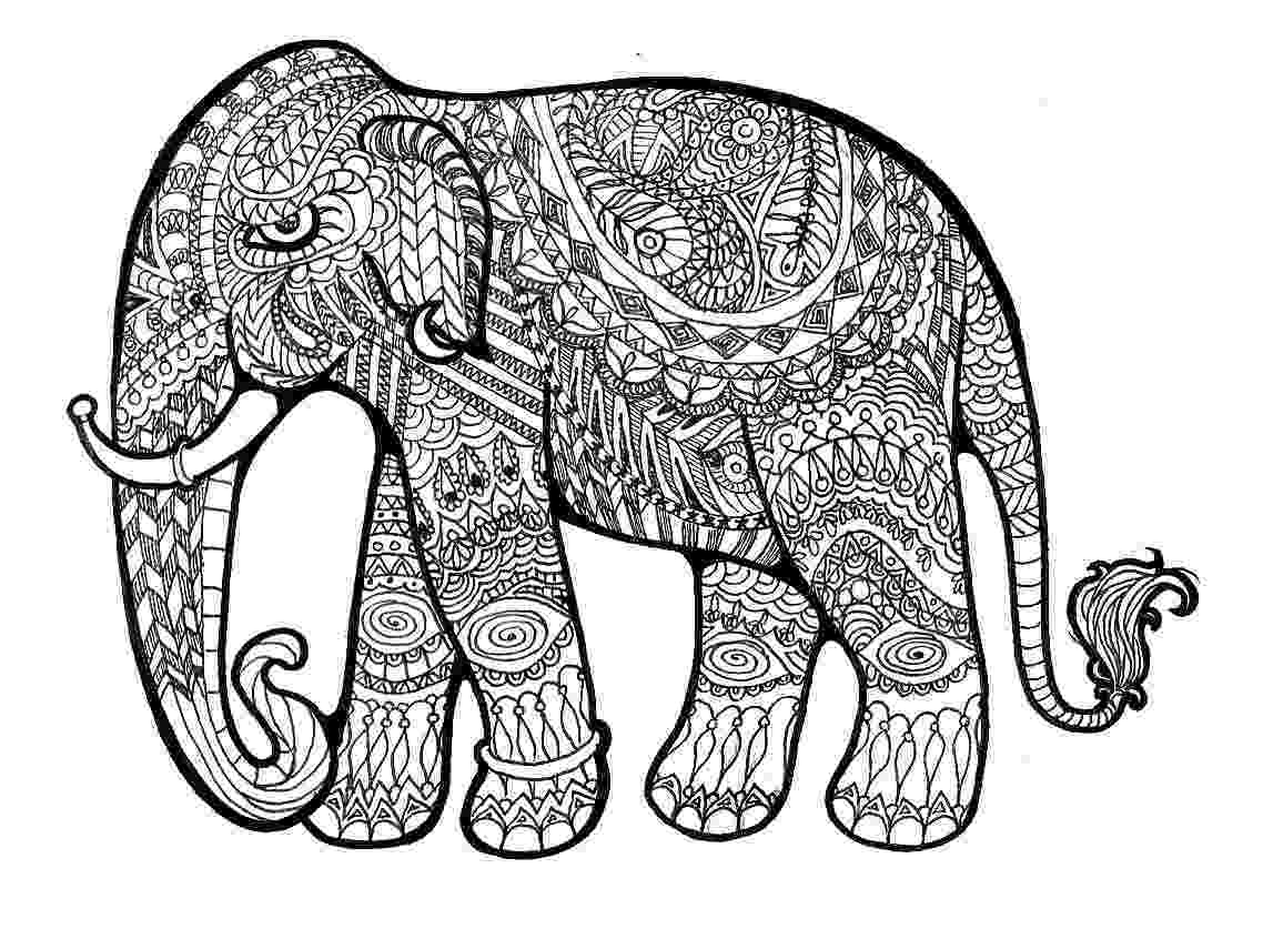 floral elephant coloring page outline drawing of an elephant black with white flowers page floral coloring elephant