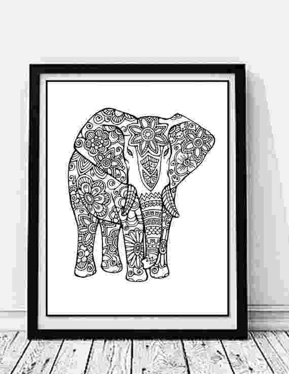 floral elephant coloring page splendid elephant with butterfly ears on floral background elephant floral coloring page
