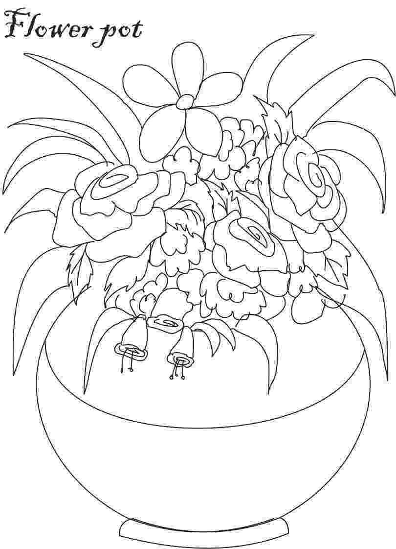 flower pot coloring page printable diy mini flower garden pots colors libraries and end of printable coloring pot flower page