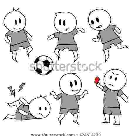 football player cartoon vector hand drawn doodle set football stock vector cartoon football player