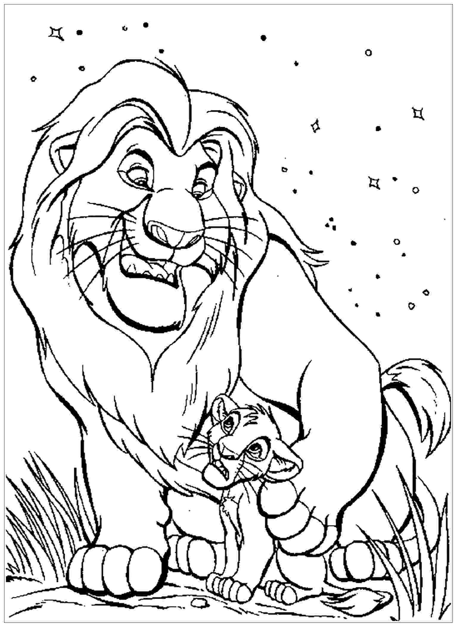 free colouring pages lion king mufasa with simba the lion king kids coloring pages colouring lion free king pages