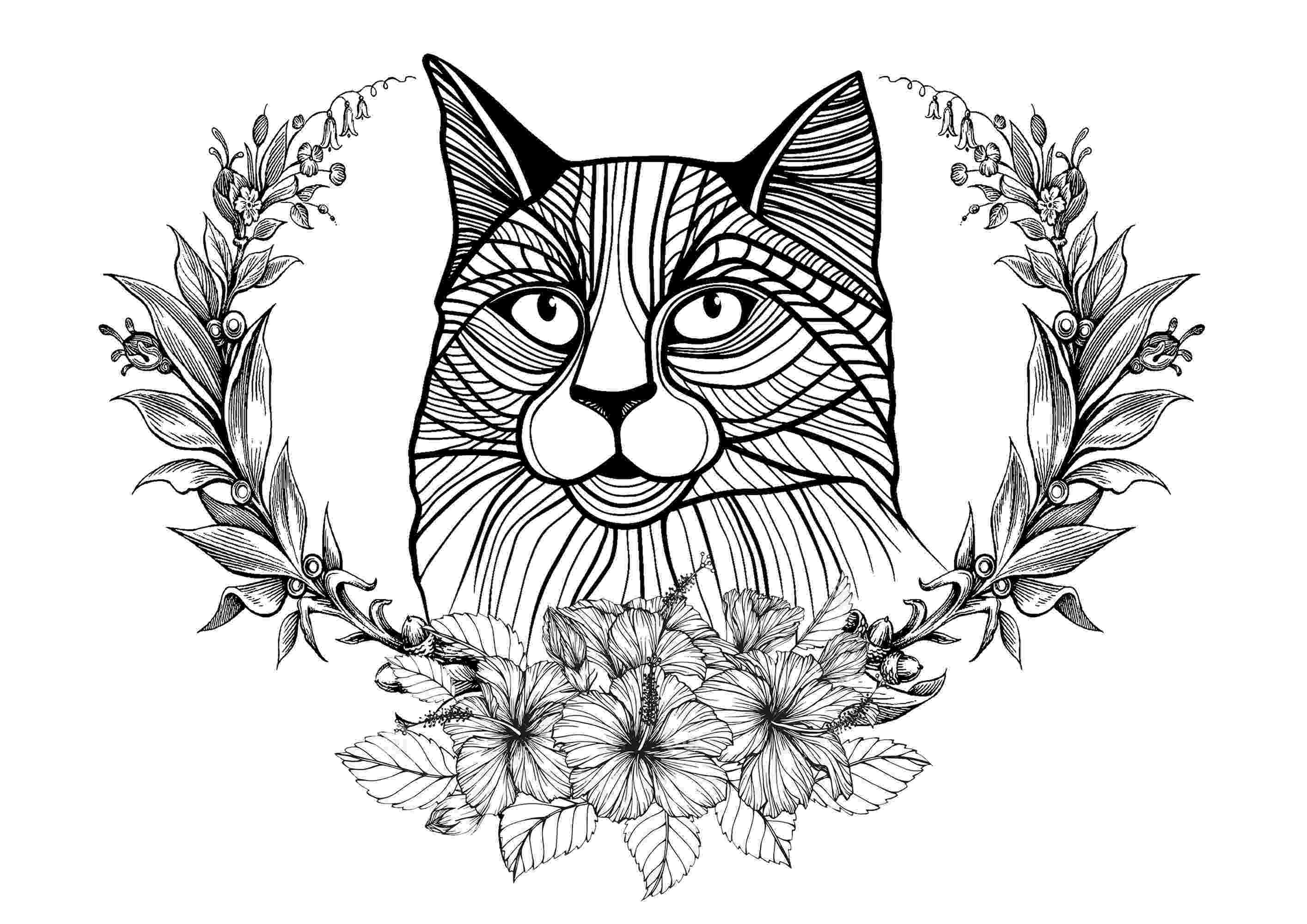 free online coloring pages for adults cats cat and laurel wreath cats adult coloring pages for adults cats coloring free online pages
