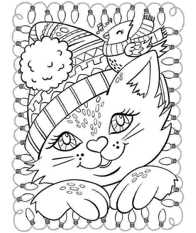 free online coloring pages for adults cats christmas cat and cardinal coloring page crayolacom for pages coloring cats free online adults