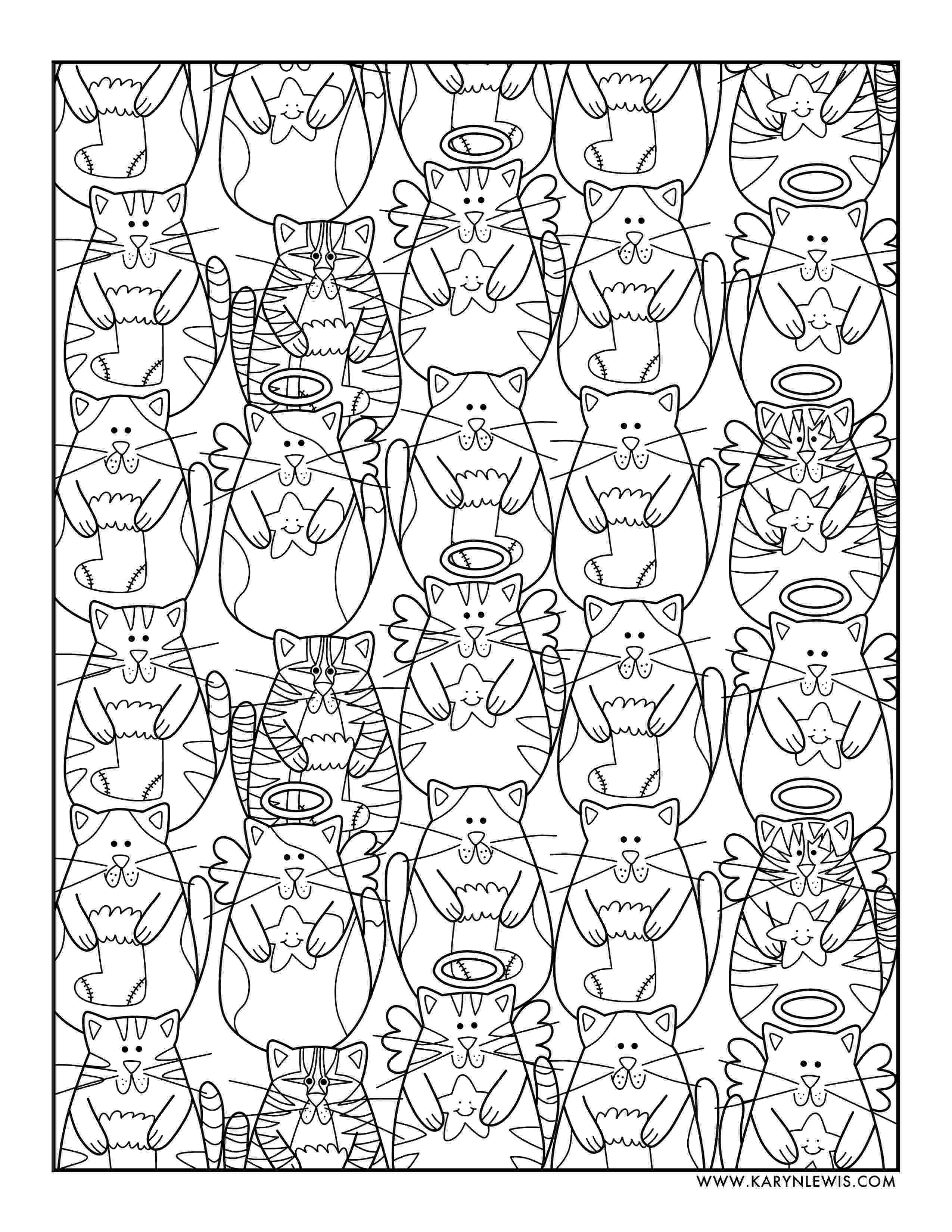 free online coloring pages for adults cats christmas cats free adult coloring page karyn lewis free adults online for coloring pages cats