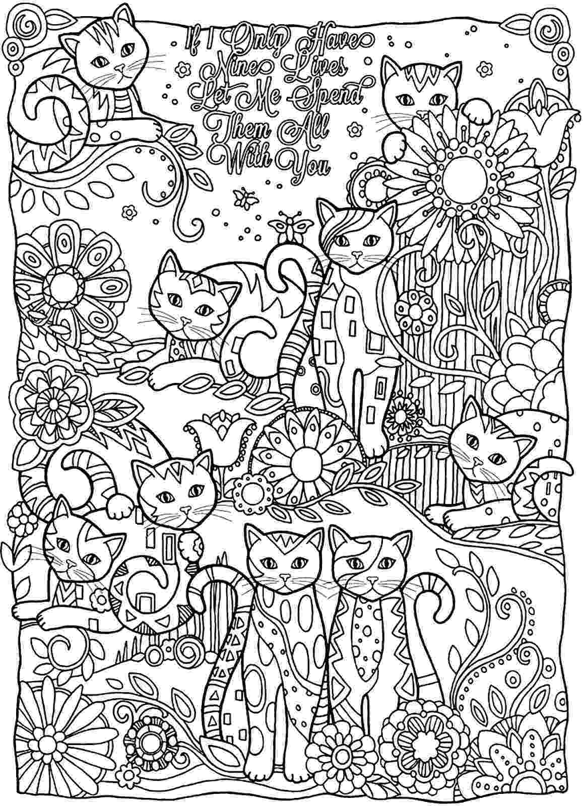 free online coloring pages for adults cats coloring page world if i only have nine lives let me online coloring cats pages adults for free