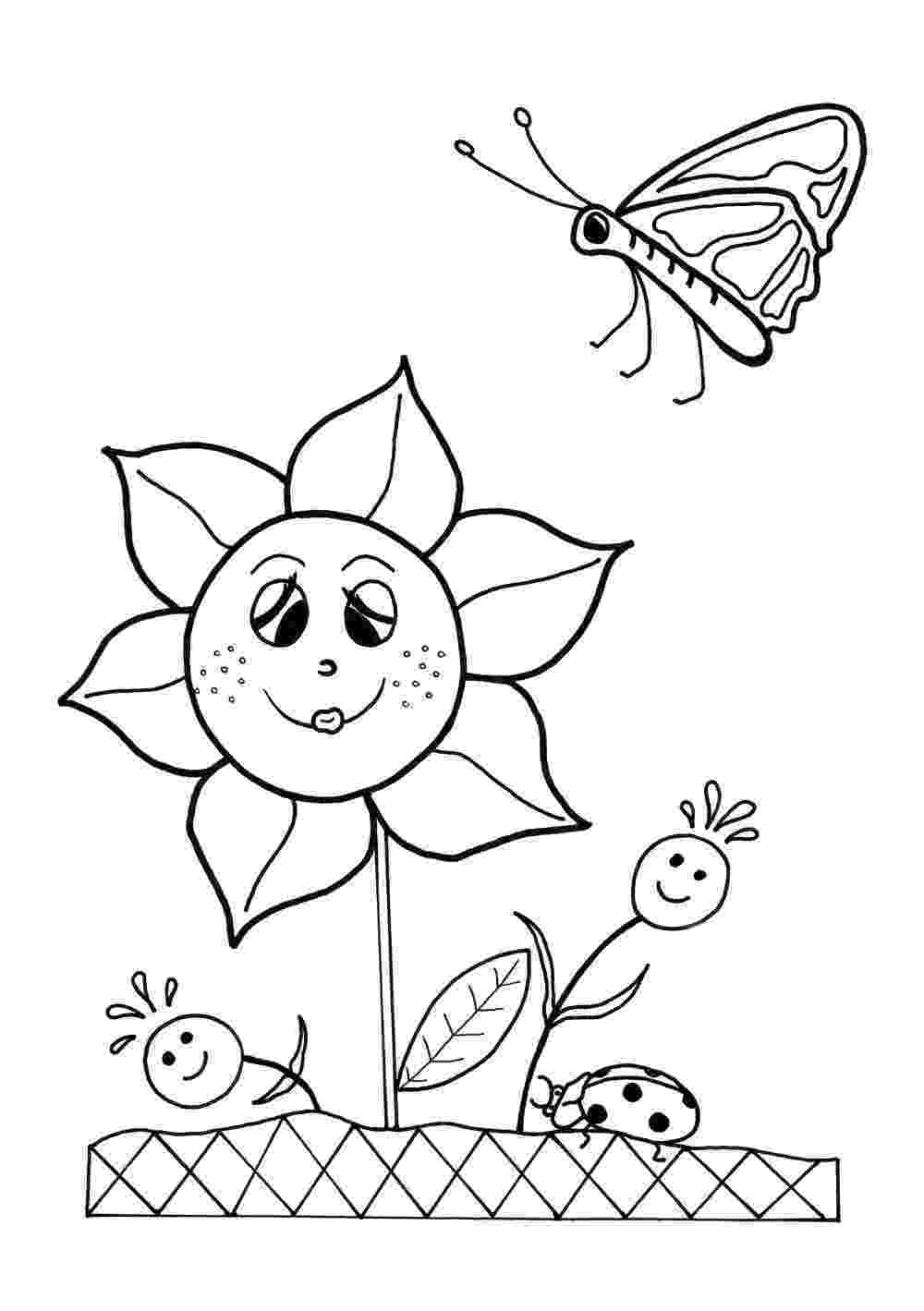 free printable coloring pages of flowers dancing flowers spring coloring sheet allfreekidscraftscom flowers free printable of coloring pages