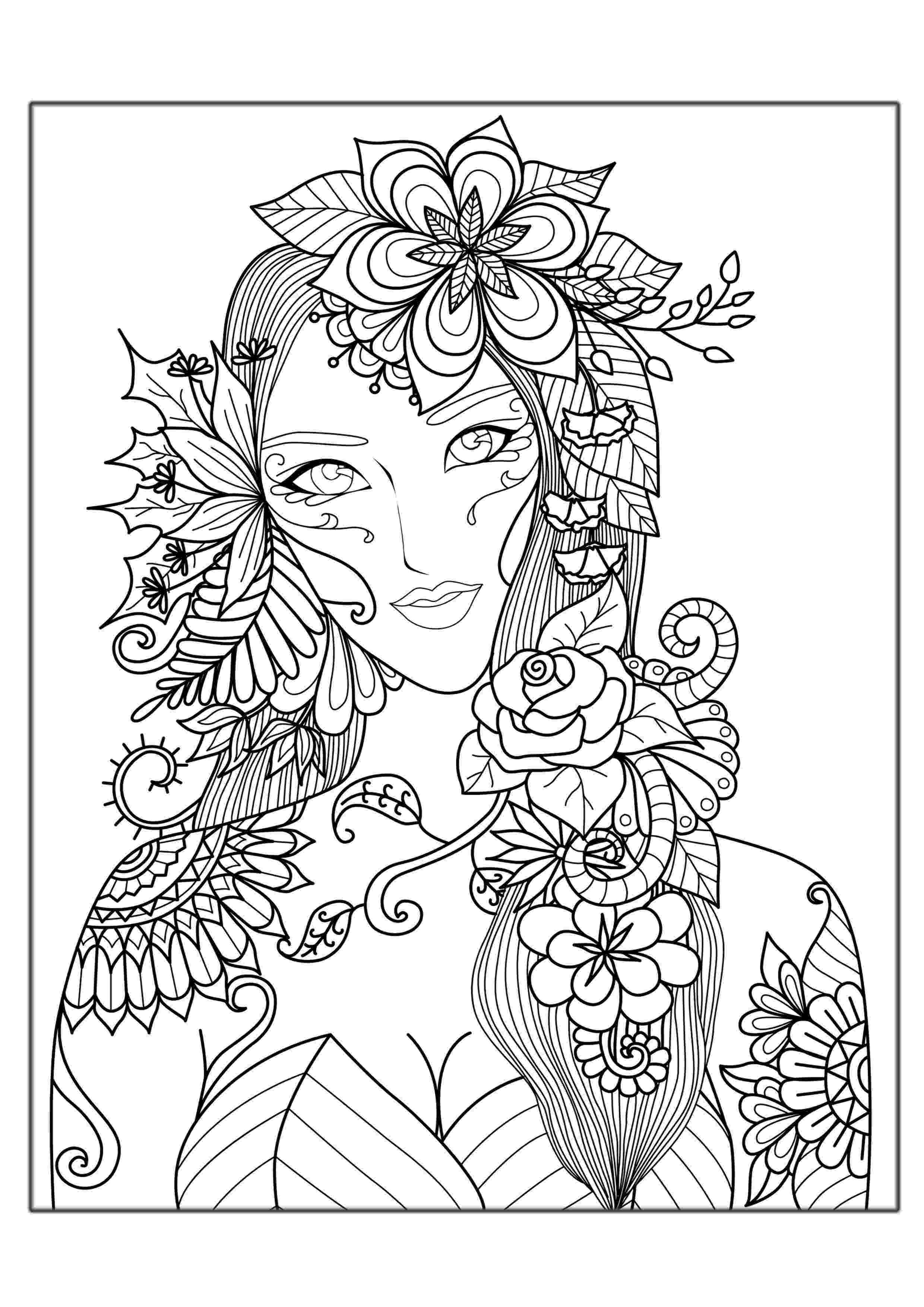 free printable flower coloring pages for adults woman flowers anti stress adult coloring pages flower printable for free adults pages coloring