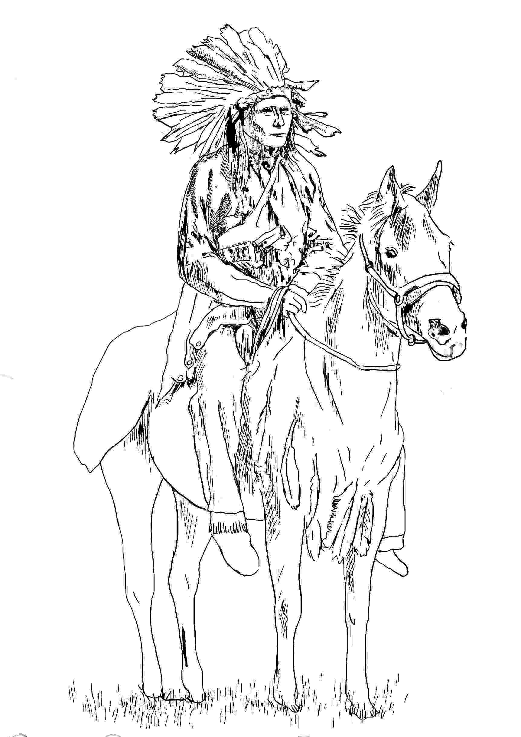 free printable native american coloring pages native american on his horse native american adult pages coloring printable free american native