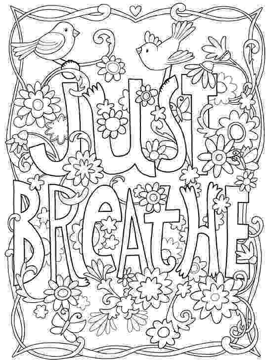 free printable quote coloring pages for adults inkspirations inthegarden just breathe inspirational coloring printable for free quote pages adults