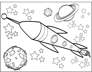 free space printables coloring pages space coloring pages with rocket for kids with cat space free pages printables coloring