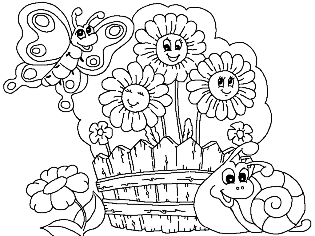 gardening colouring sheets boy watering plants on patio flowers in the garden sheets colouring gardening