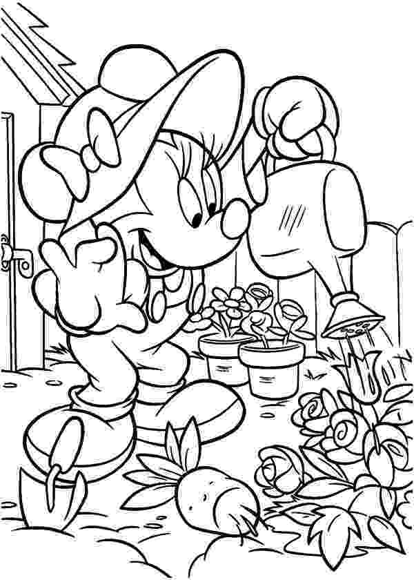 gardening colouring sheets minnie mouse working in the garden coloring pages minnie gardening sheets colouring