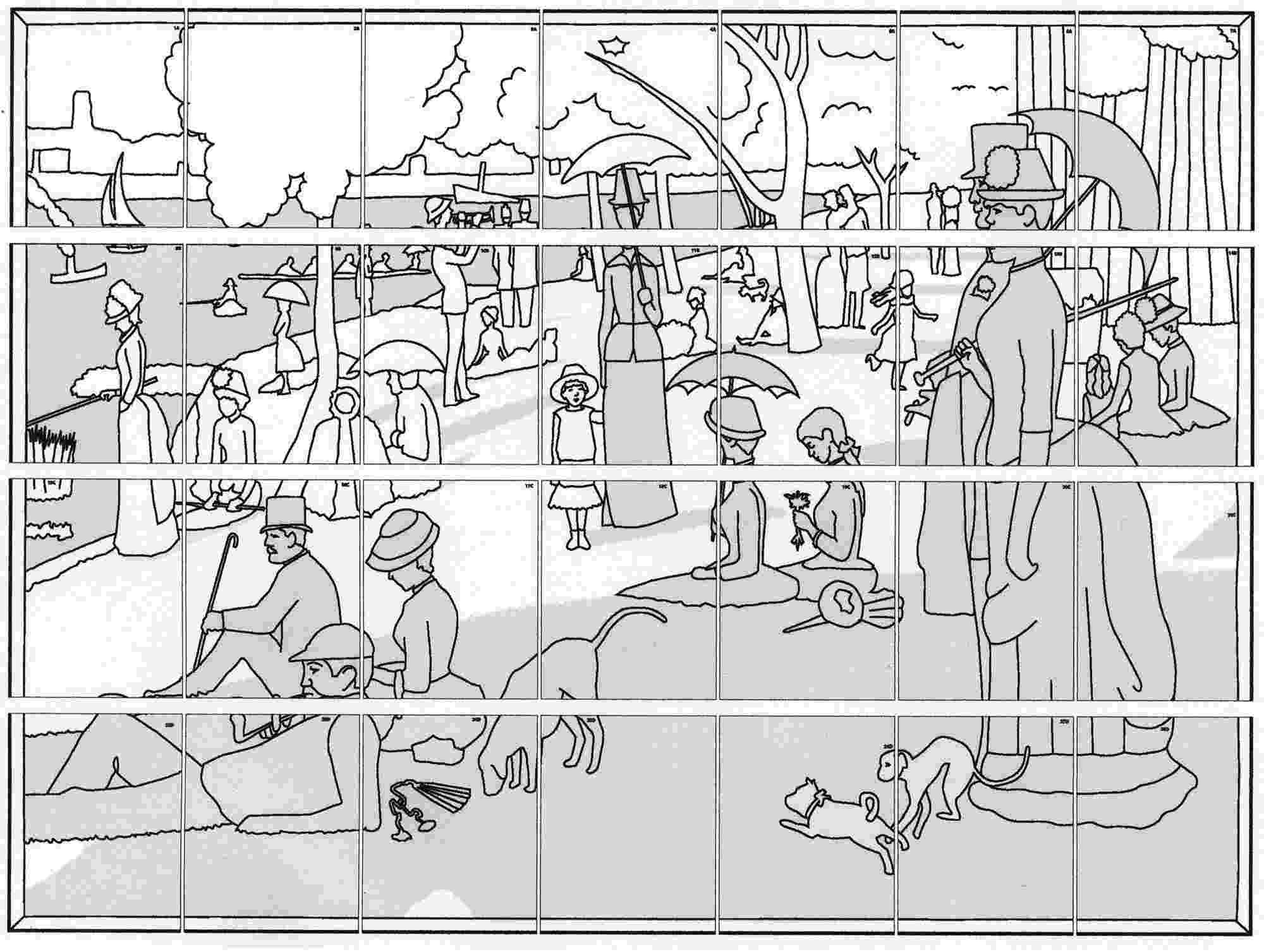 george seurat coloring pages post impressionism 19t century georges seurat a sunday seurat coloring pages george