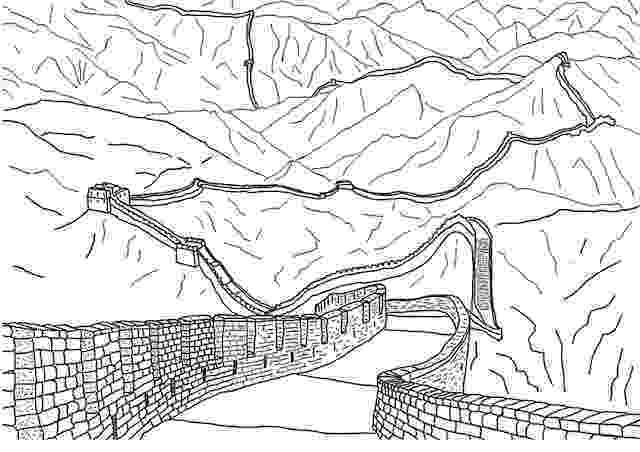 great wall of china coloring sheet clipart of a black and white sketch of the great wall of china wall coloring sheet great of