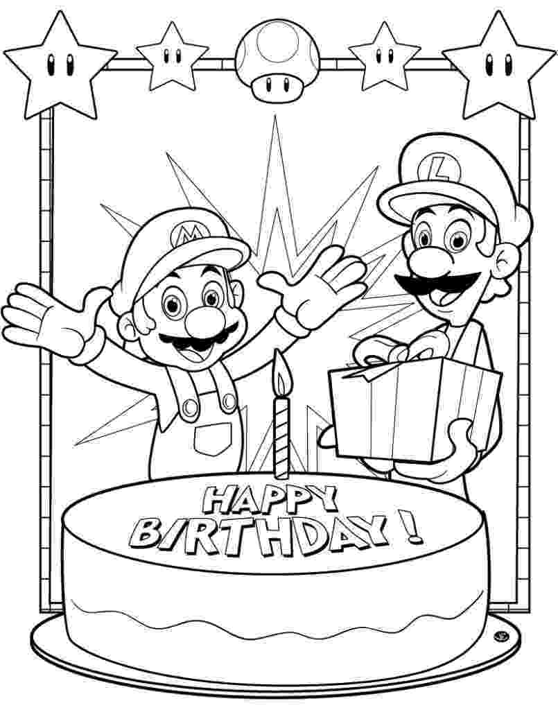 happy birthday mario coloring pages free printable birthday coloring pages mario birthday happy
