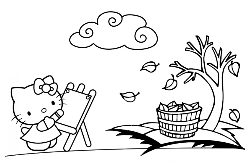 hello kitty fall coloring pages hello kitty halloween coloring pages getcoloringpagescom pages fall hello coloring kitty