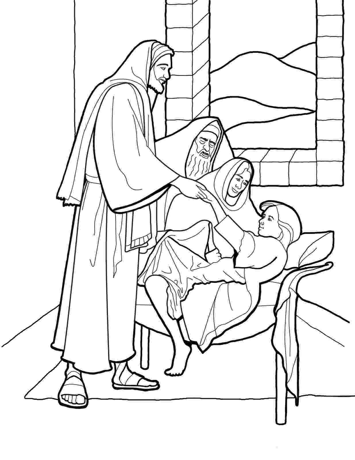 jairus daughter colouring sheets jesus restores jairus39 daughter to life coloring page colouring jairus daughter sheets