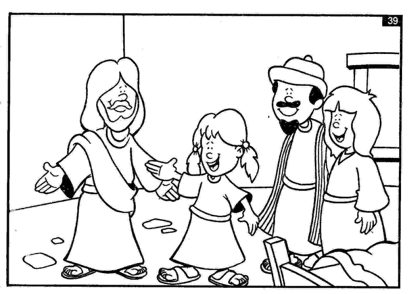 jairus daughter colouring sheets sick girl who healed by miracles of jesus coloring page colouring jairus daughter sheets