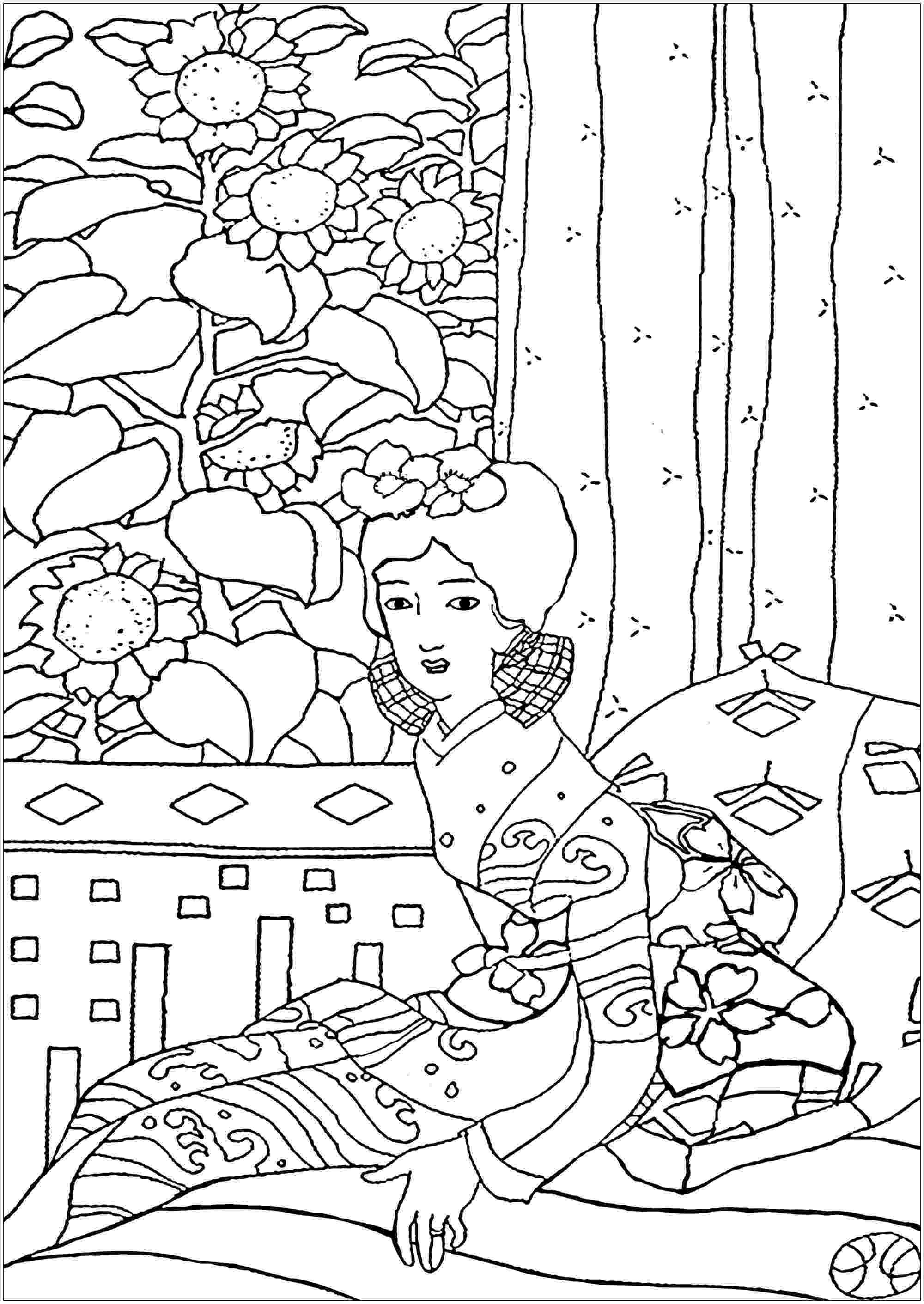japanese coloring pages geisha yumeji takehisa japan adult coloring pages coloring japanese pages