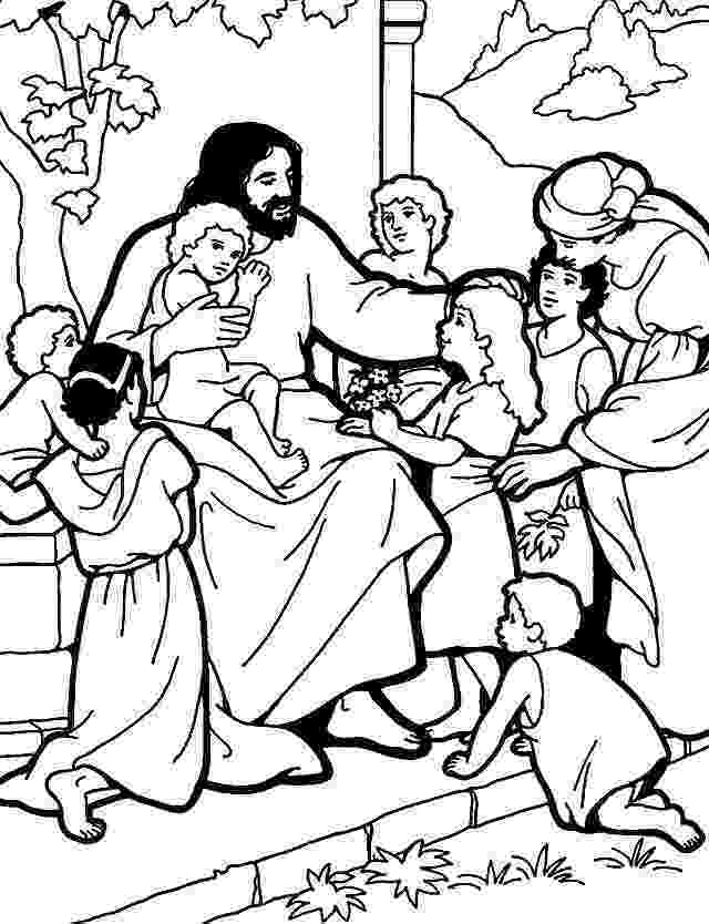jesus and the children coloring page free coloring pages of jesus teaches us to pray 2016 jesus coloring children the and page