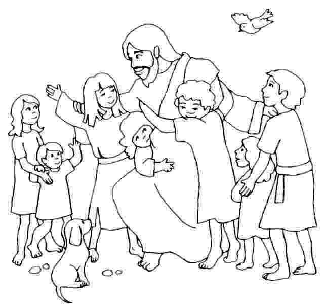 jesus and the children coloring page para colorear jesús bendice a los niños hojas para the and page coloring jesus children