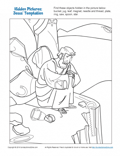 jesus temptation coloring sheet hidden picture bible activities for children on sunday coloring temptation jesus sheet