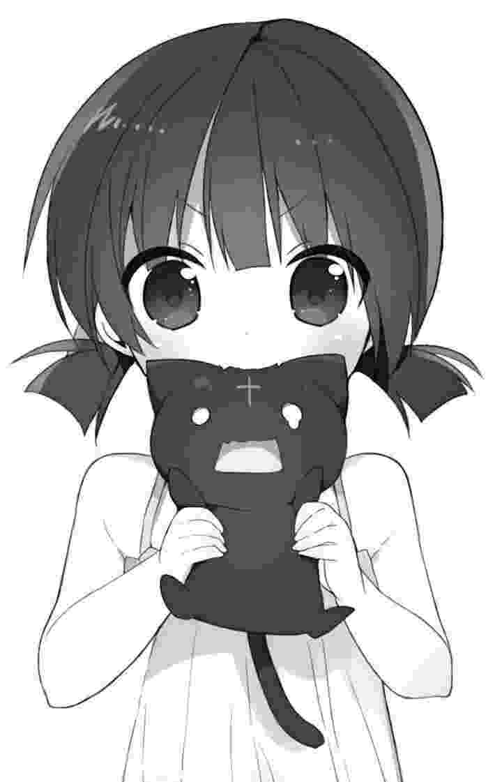 kawaii girl monochrome cute anime girl strawberries pigtails long hair kawaii girl