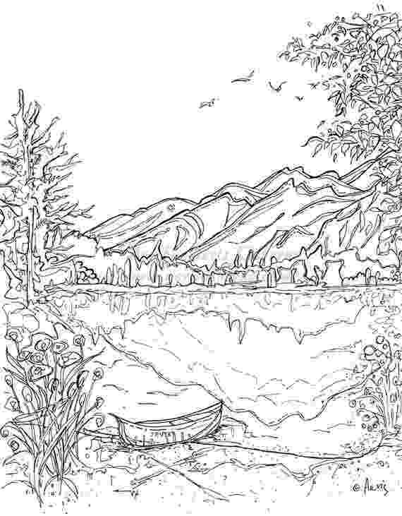 lake coloring page serenity jasper landscape printable coloring page canoe etsy page lake coloring