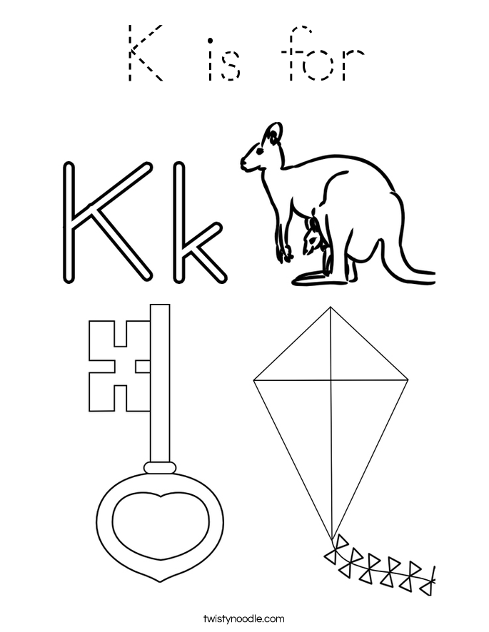 letter k coloring pages k is for coloring page tracing twisty noodle coloring k pages letter