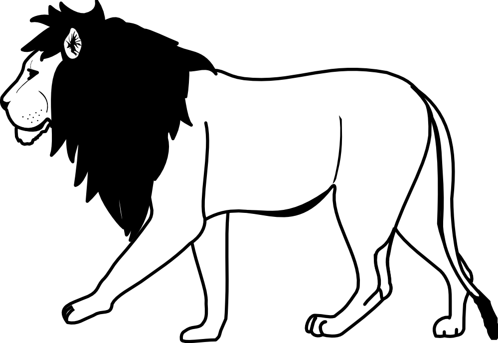 lion cartoon black and white illustration of lion stock vector image cartoon lion