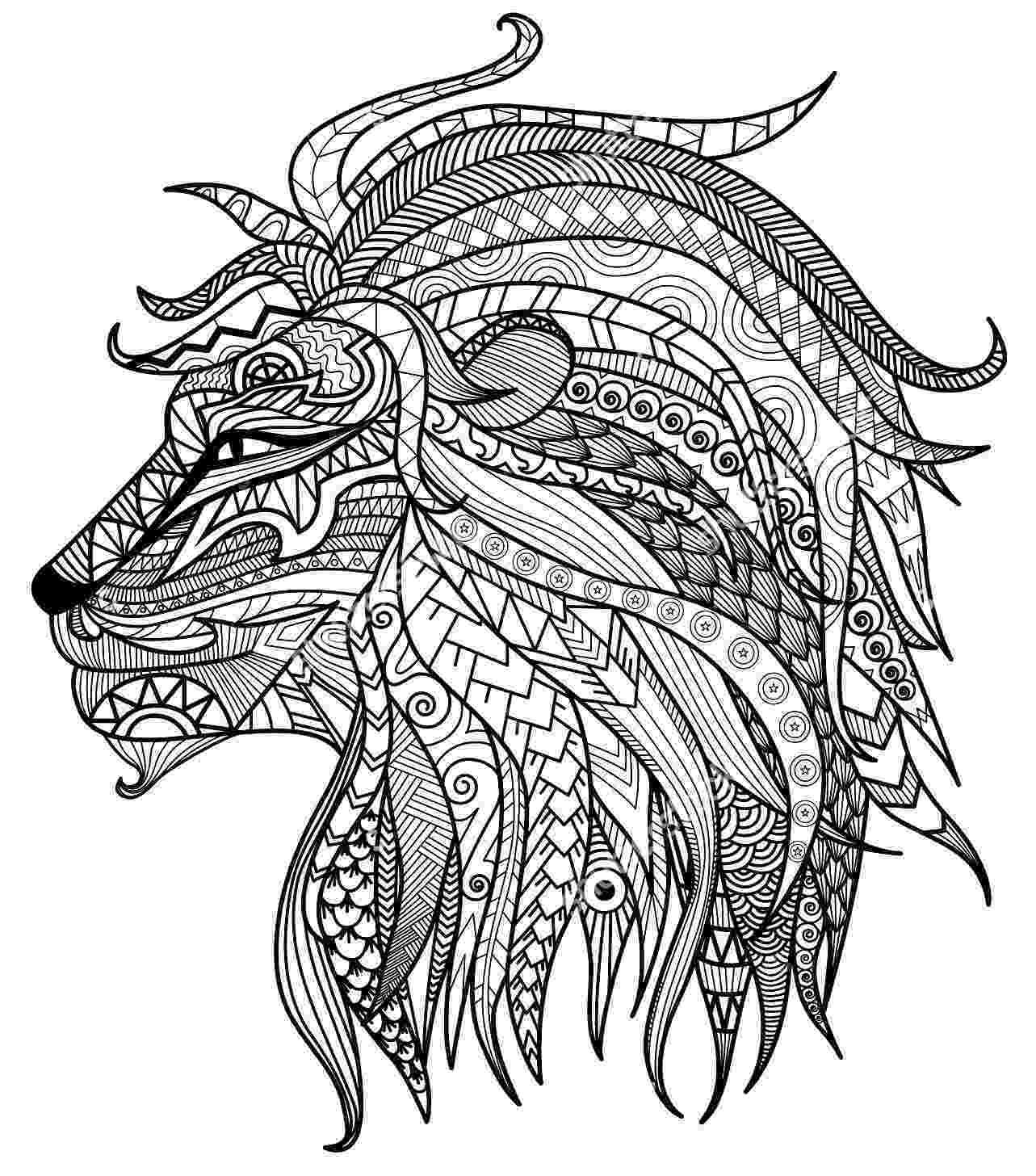lion head coloring page lion head adult antistress coloring page stock vector head page lion coloring