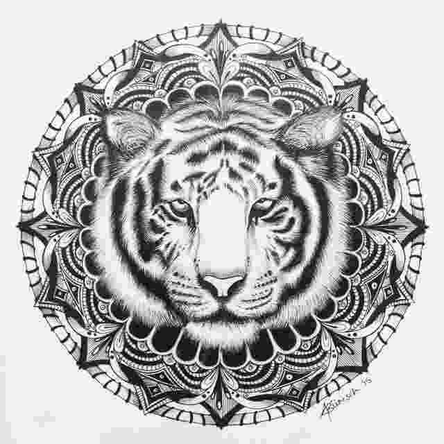 mandala animals minikiki on twitter quotthe completed piece tiger mandala animals mandala