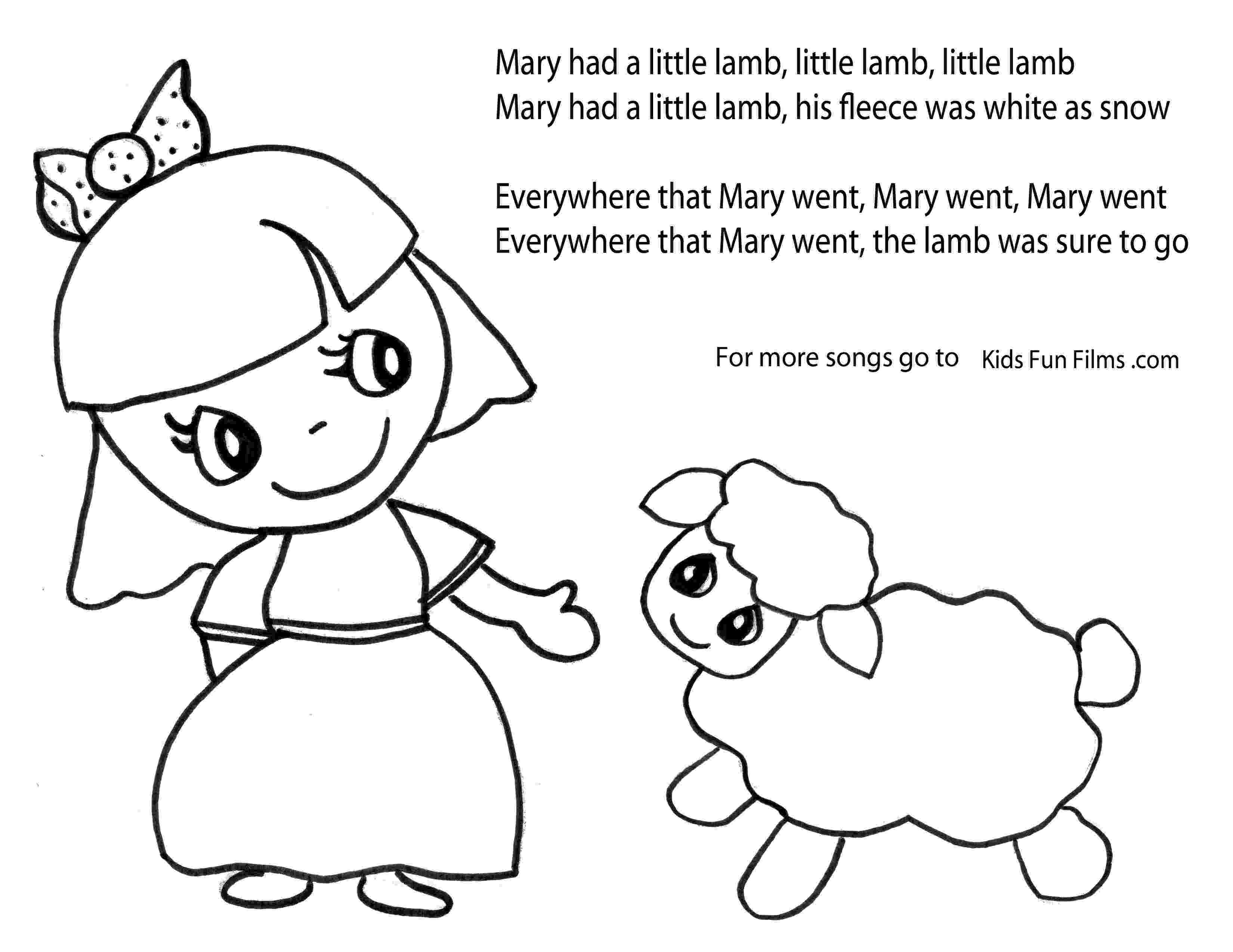mary had a little lamb coloring page store kids fun films lamb a page mary had coloring little
