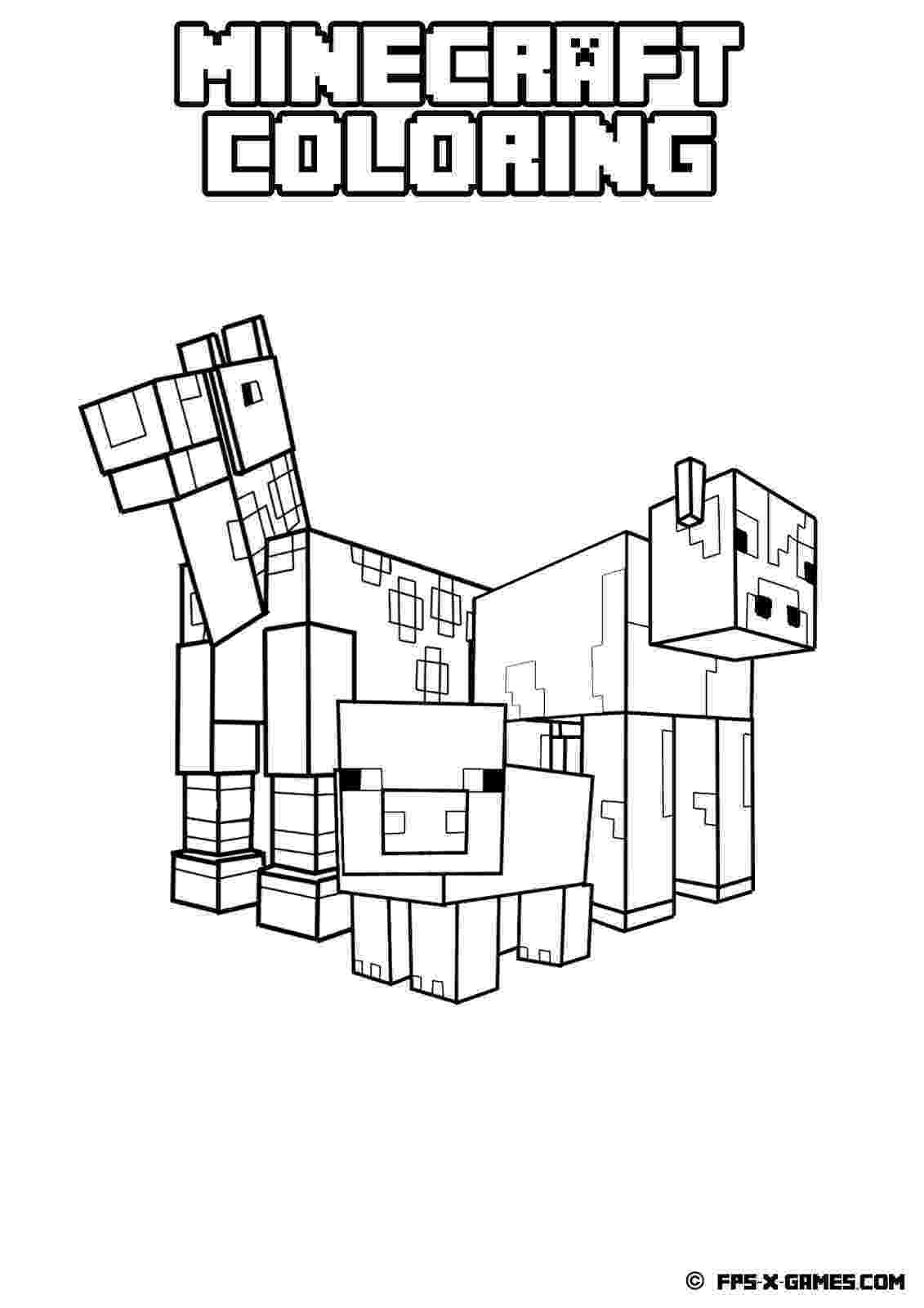 minecraft animal coloring pages minecraft animal coloring pages getcoloringpagescom coloring animal minecraft pages