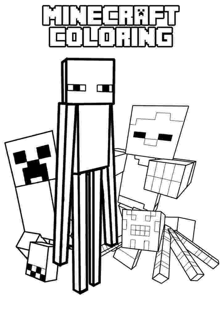 minecraft creeper pictures to color creeper enderman spider and villager mob pictures to color pictures to creeper minecraft