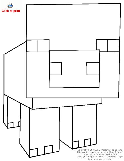 minecraft pig printable pig from minecraft coloring page color pages minecraft printable minecraft pig
