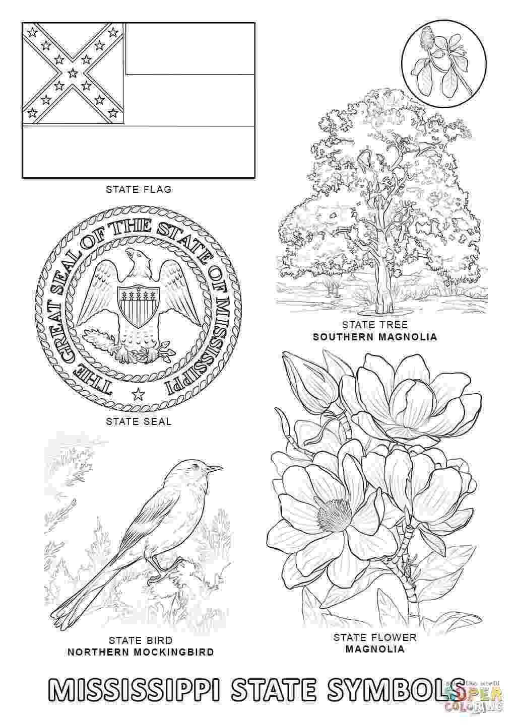 mississippi state flower mississippi state seal coloring page free printable mississippi flower state