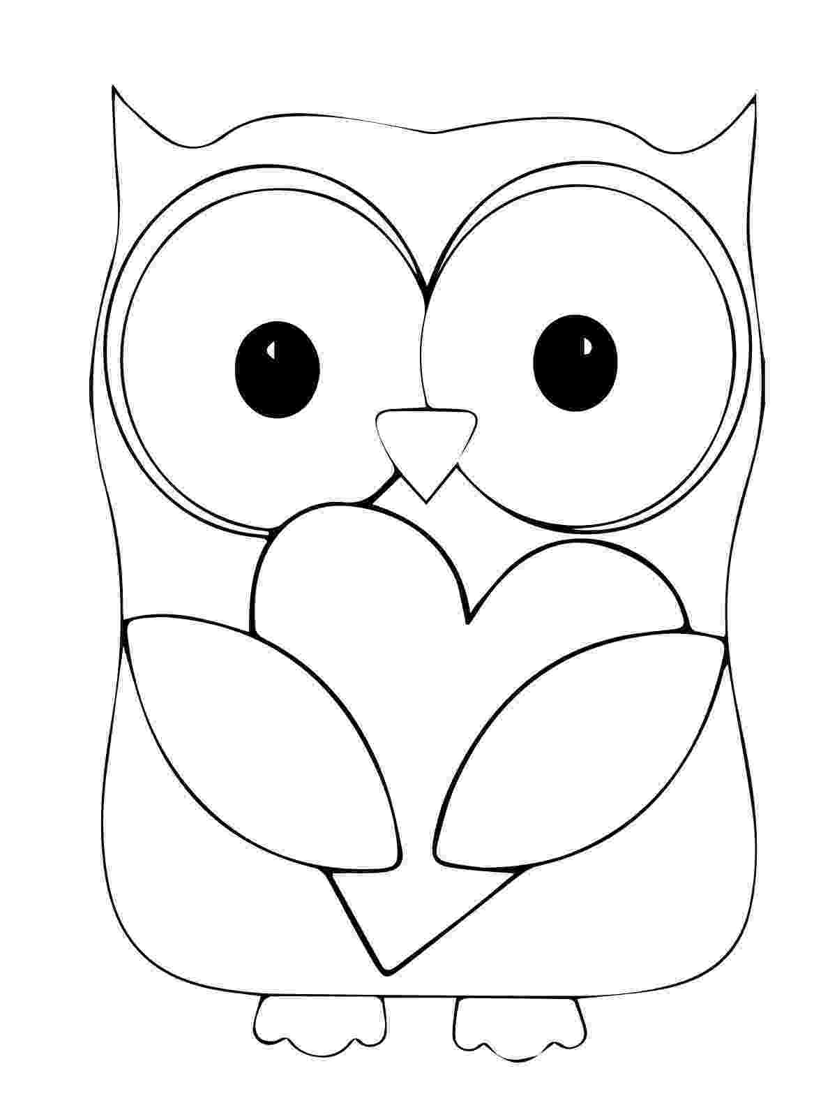 owl colouring template owl heart coloring pages for kids coloring page owl colouring template