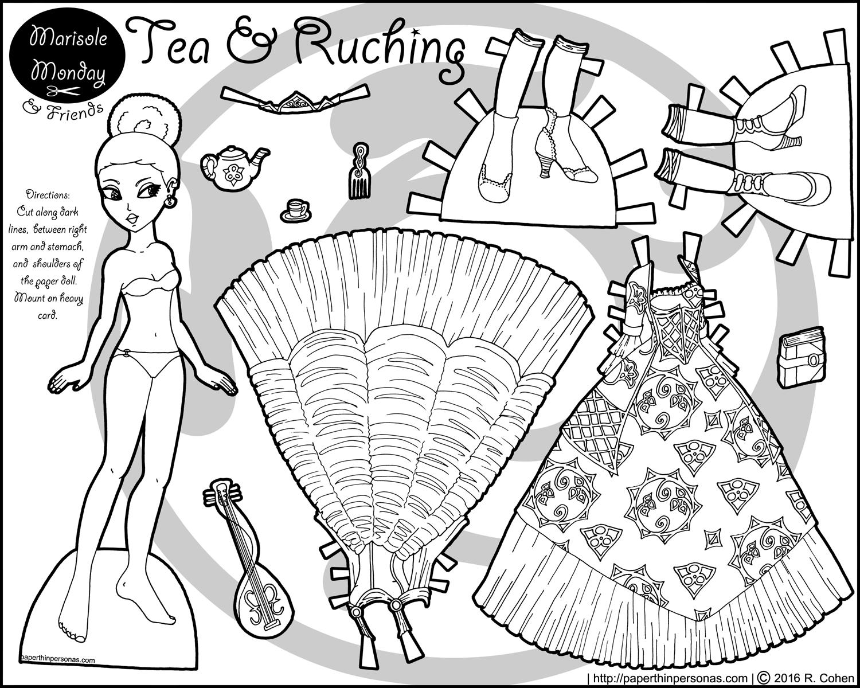 paper dress up tea and ruching princess paper doll up paper dress