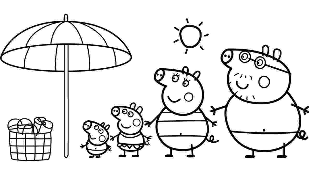 pepa pig coloring pages the pig family goes to the beach peppa pig coloring page pages pig coloring pepa