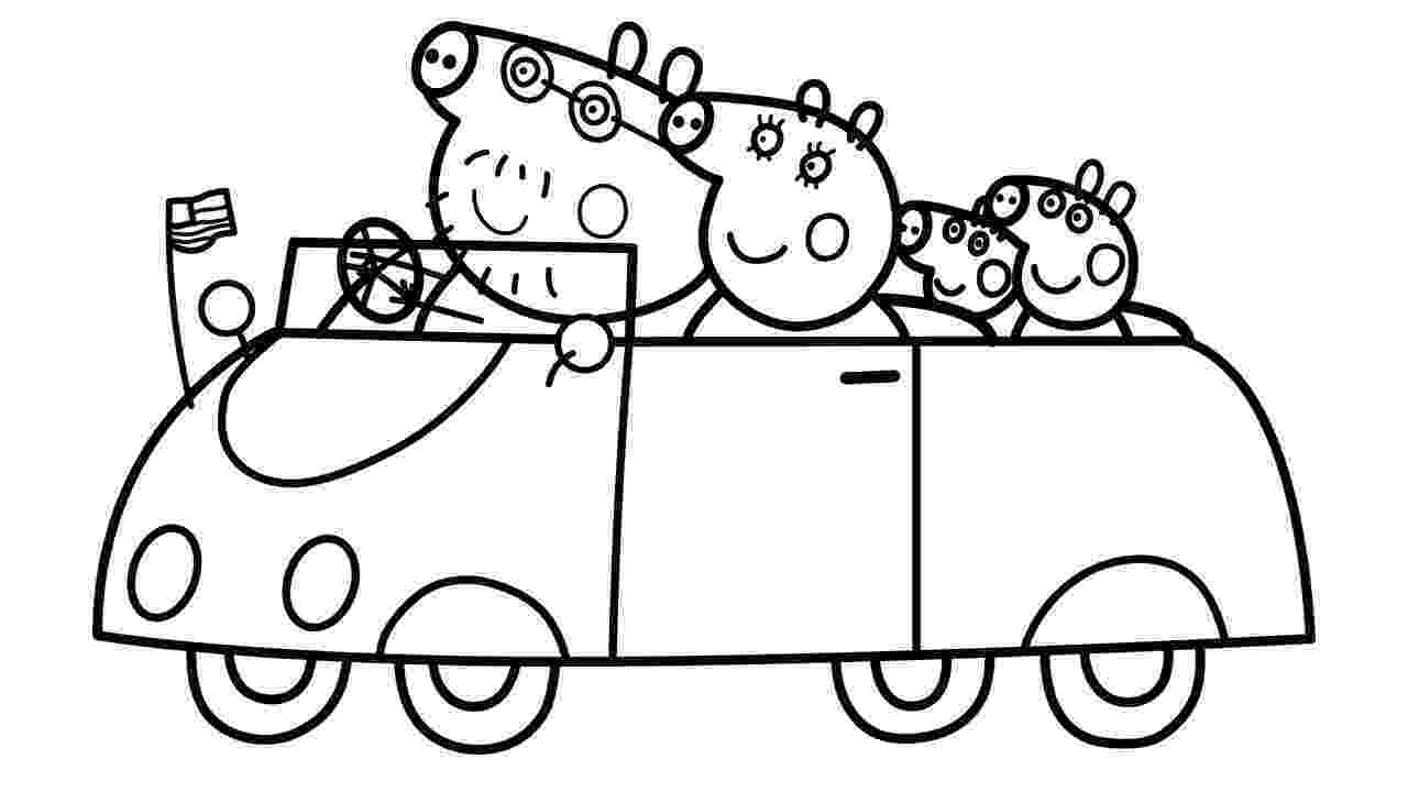 peppa pig coloring pages printable peppa pig family in car coloring pages learn colors with pig printable peppa coloring pages