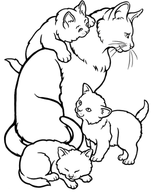 picture of a cat to color coloring pages of mommy cat kittens for kids coloring point picture to of color a cat