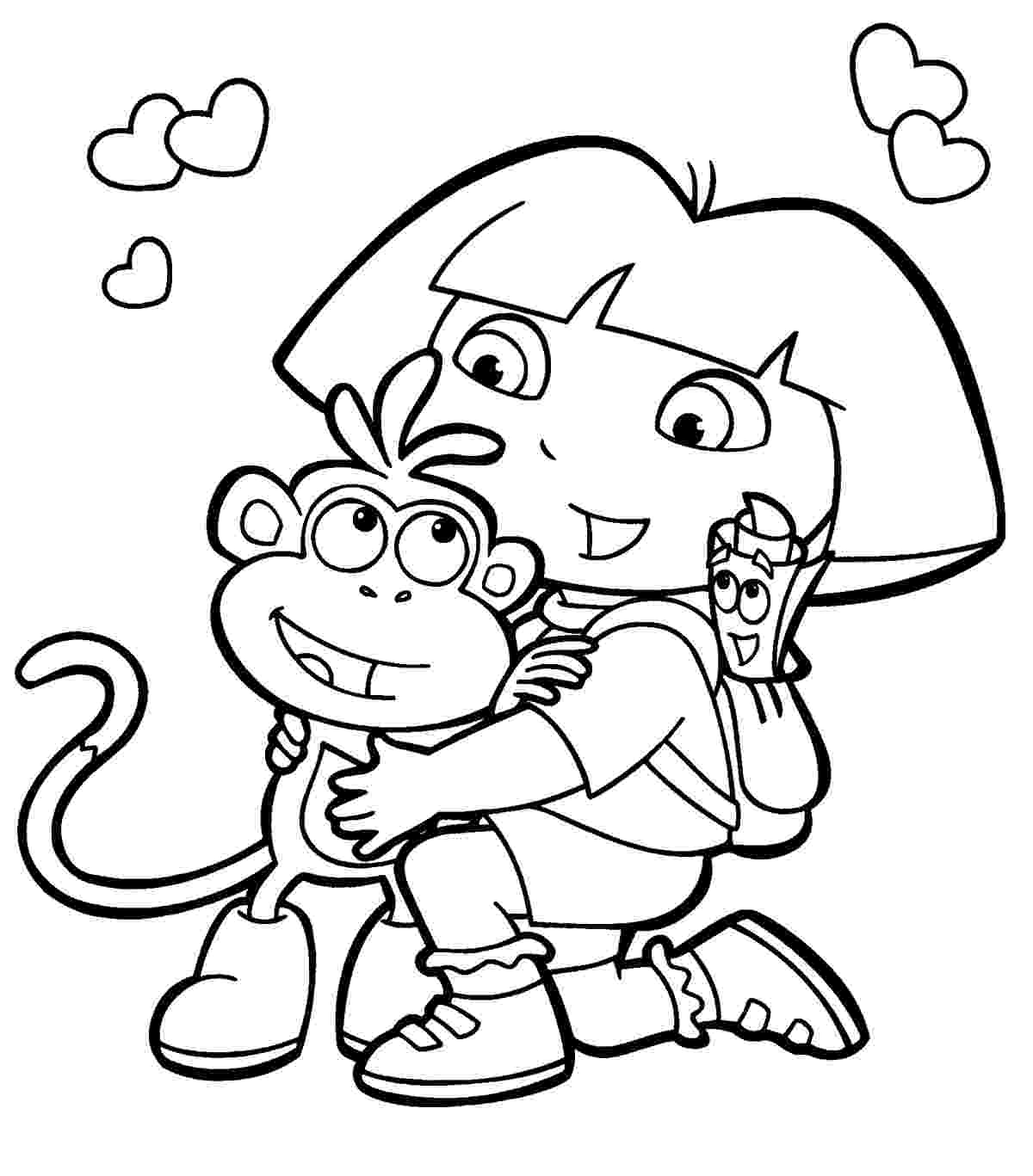 pictures of dora to color dora coloring pages free printables momjunction pictures of color to dora
