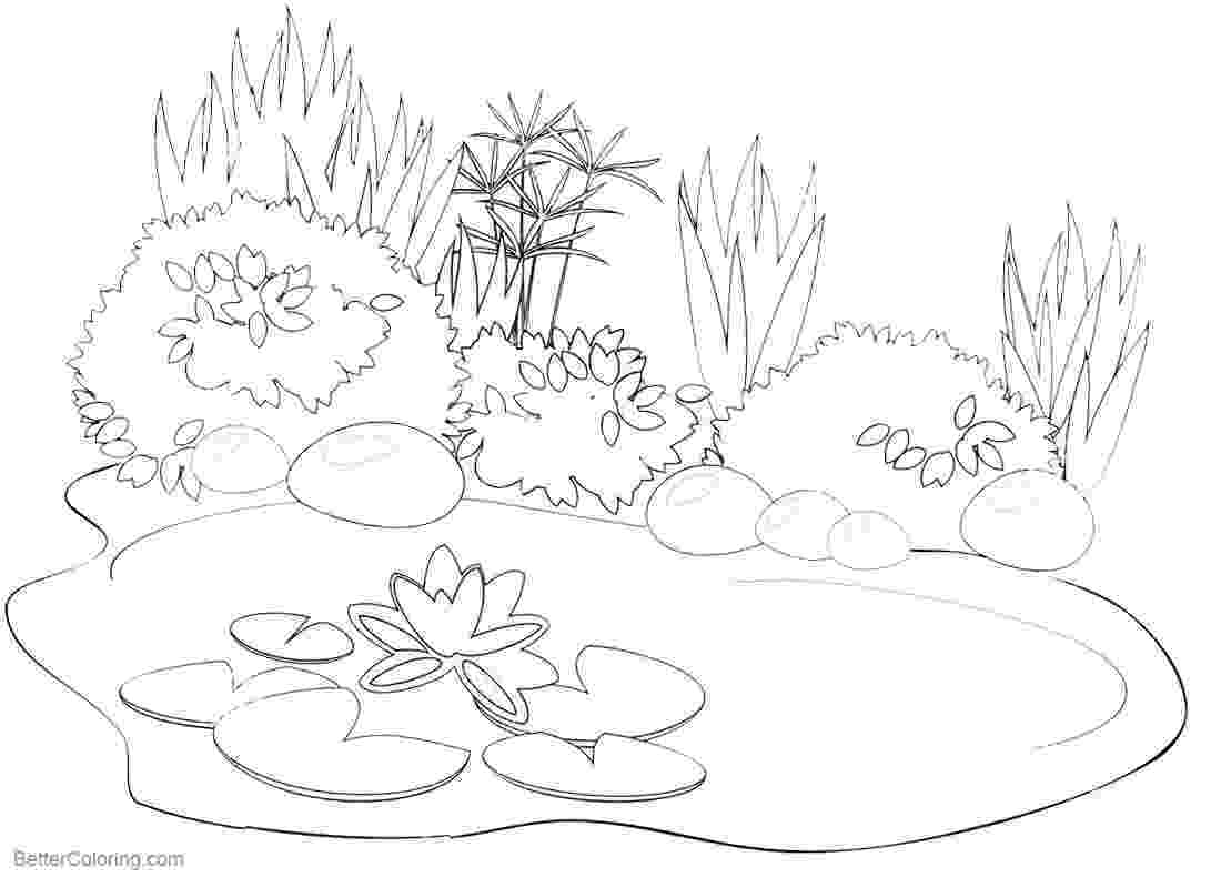 pond coloring page pond coloring pages black and white drawing free coloring page pond