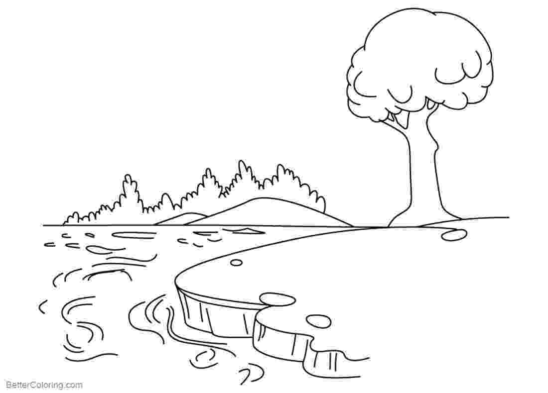 pond coloring page pond coloring pages with a tree free printable coloring coloring page pond