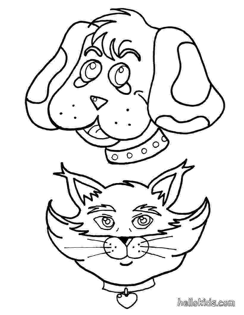 printable coloring pages cats and dogs dog and cat play with snowman coloring pages printablecom dogs coloring and printable pages cats