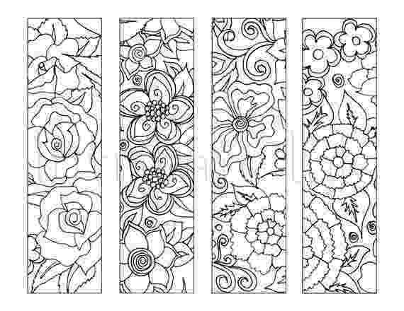 printable colouring bookmarks 4 flower colouring bookmarks instant download printable printable bookmarks colouring