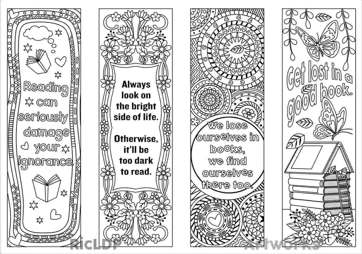 printable colouring bookmarks color your own bookmarks zentangle inspired printable by bookmarks colouring printable